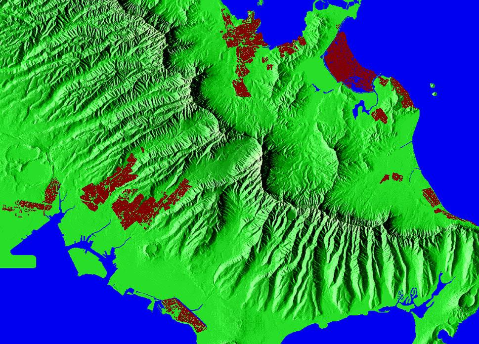 Topographic Map Oahu.Island Of Oahu
