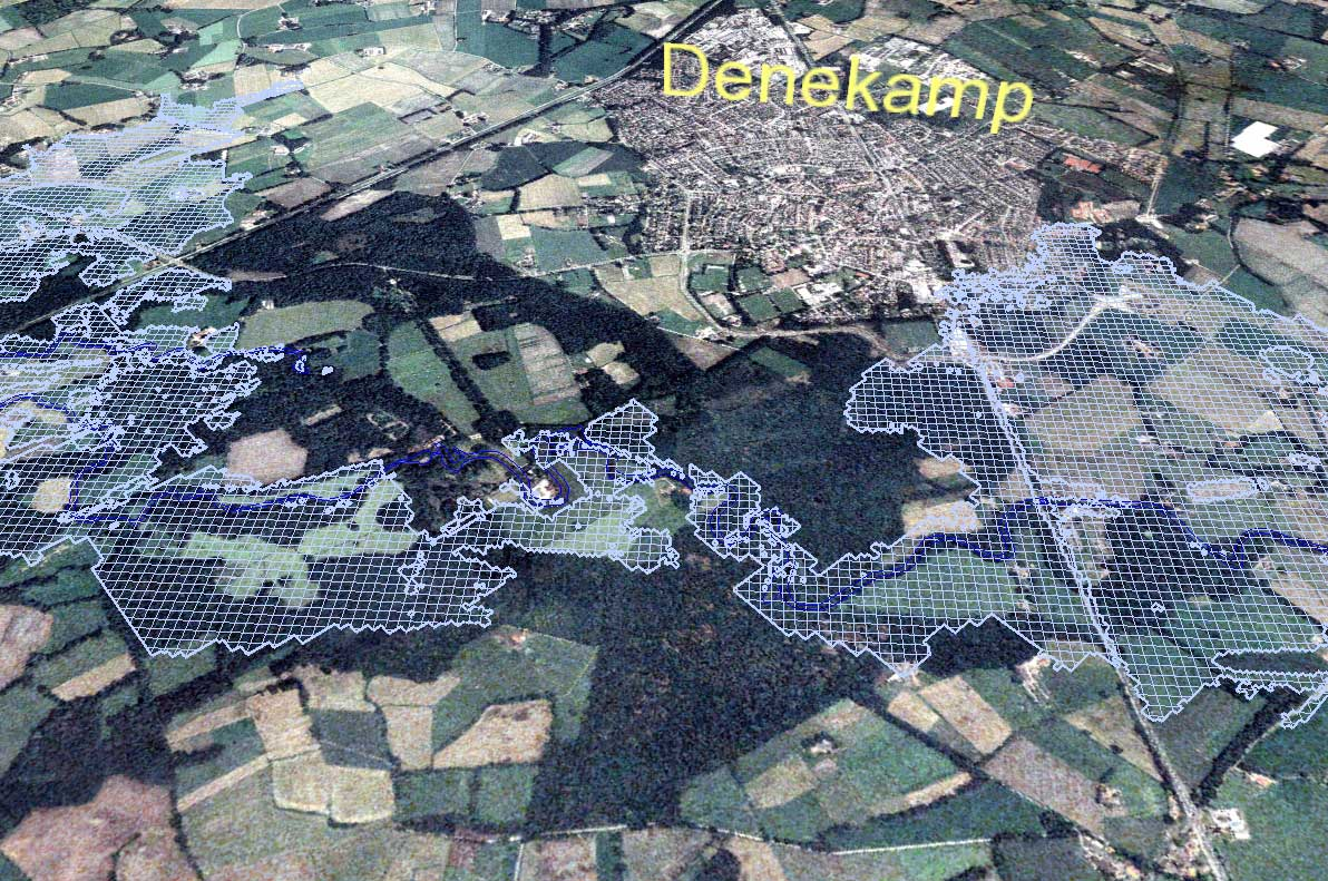 ... the Dinkel river and the polygons represent a certain flood scenario