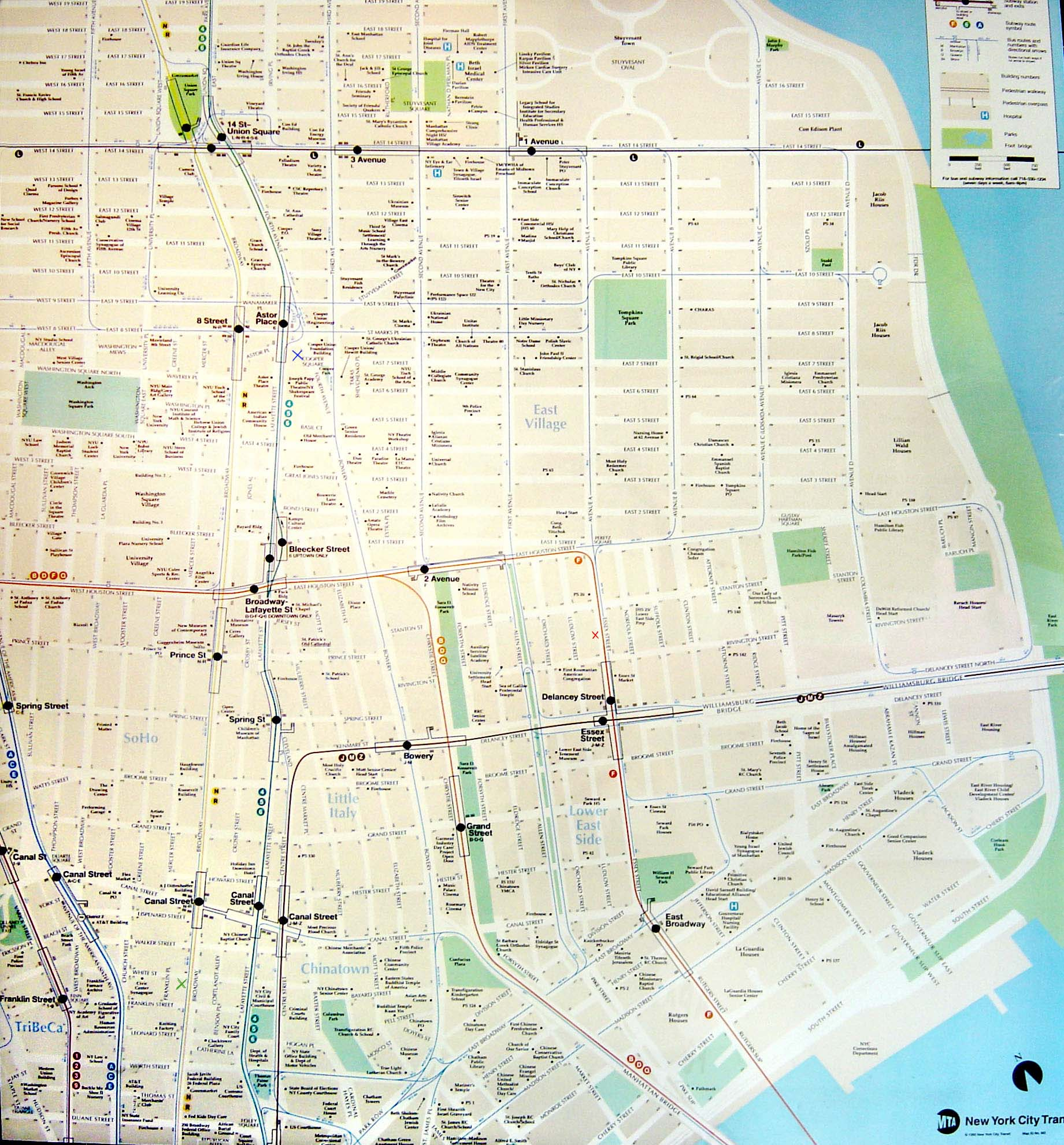New York City - New york subway map with streets